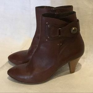 Miss Sixty Brown Leather Heeled Ankle Boot Size 11